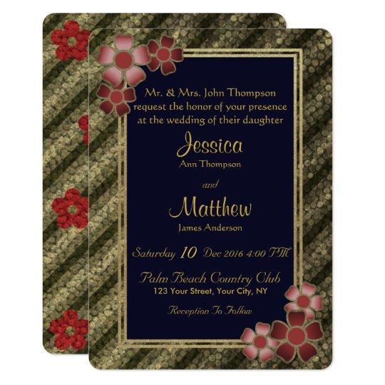 Invitación floral rayada azul rosada del boda del