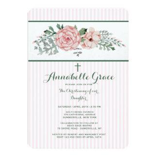 Invitación floral rayada rosada