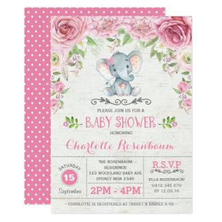 Invitación floral rosada de la fiesta de