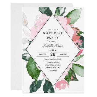 Invitación floral rosada del fiesta de sorpresa