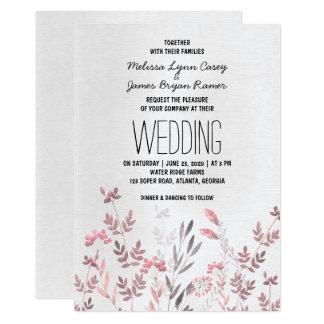 Invitación floral rosada delicada del boda