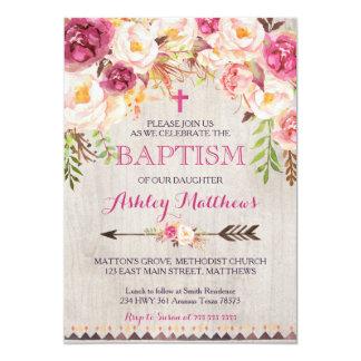 Invitación floral rosada hermosa del BAUTISMO