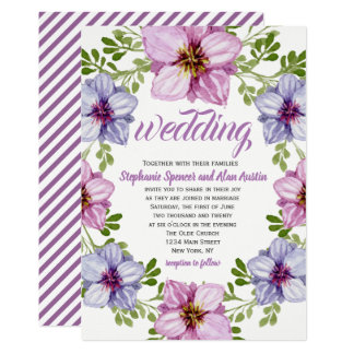 Tarjeta Invitación floral rosada púrpura del boda de la