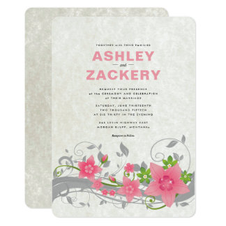 Invitación floral rosada, verde, gris del boda de