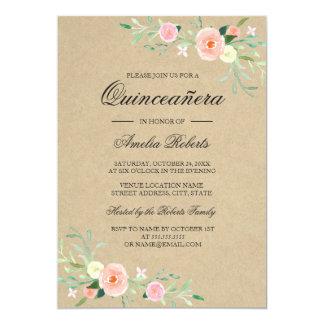 Invitación floral rústica de Boho Quinceanera