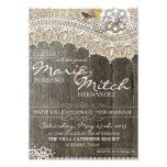 Invitación floral rústica de madera y del boda del
