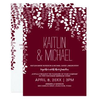 Invitación floral rústica del boda (vino de