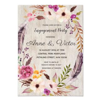 Invitación floral rústica del fiesta de compromiso