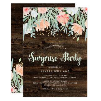 Invitación floral rústica del fiesta de sorpresa