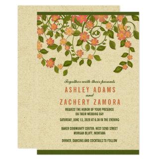 Invitación floral suave verde del boda de la