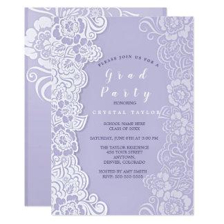 Invitación floral ultravioleta de la graduación