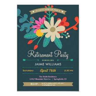 Invitación floral vibrante del fiesta de retiro