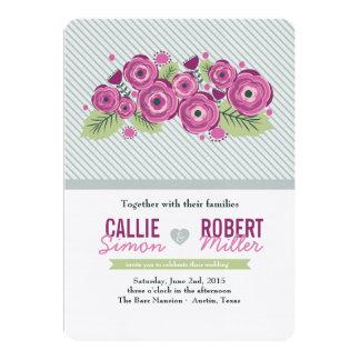 Invitación floral violeta del boda invitación 12,7 x 17,8 cm