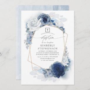 Invitación Flores azules polvorientas y marinas bautizan con