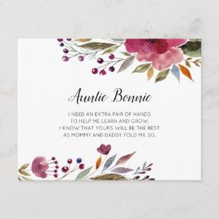 Invitación Flores De Borgoña Serás Mi Propuesta De Madrina