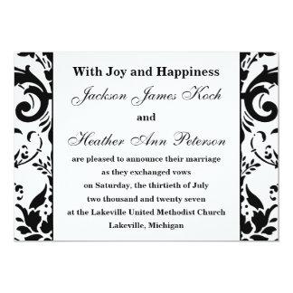 Invitación formal elegante del boda del damasco