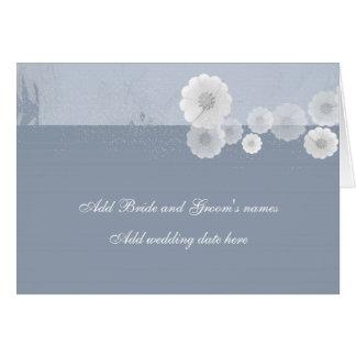 Invitación formal floral azul y blanca del boda tarjeta de felicitación