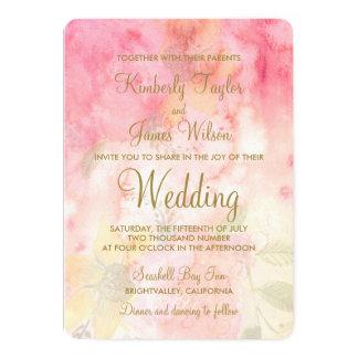 Invitación formal rosada floral del boda de la invitación 12,7 x 17,8 cm