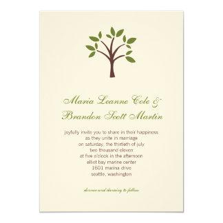 Tarjeta Invitación frondosa del boda del árbol