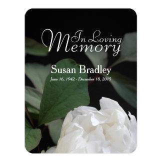 Invitación fúnebre conmemorativa del Peony blanco