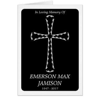 invitación fúnebre: cruz elegante tarjeta pequeña
