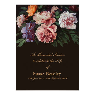 Invitación fúnebre de la pintura 1 floral de los