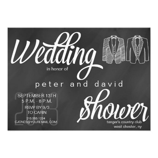 Invitación gay de la ducha del boda de la pizarra
