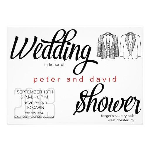Invitación gay de la ducha del boda del lazo negro