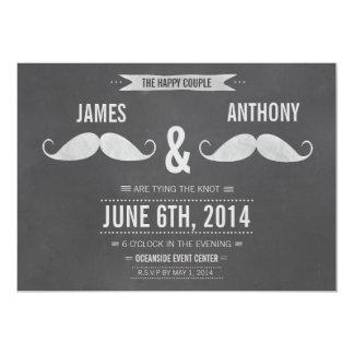 Invitación gay de la pizarra del bigote del boda