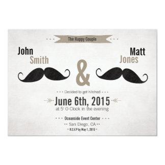 Invitación gay del bigote del boda