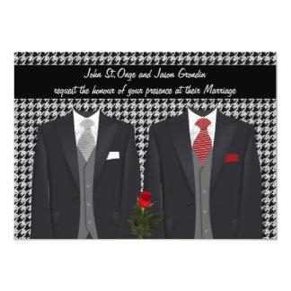 Invitación gay del boda con dos smokinges y subió