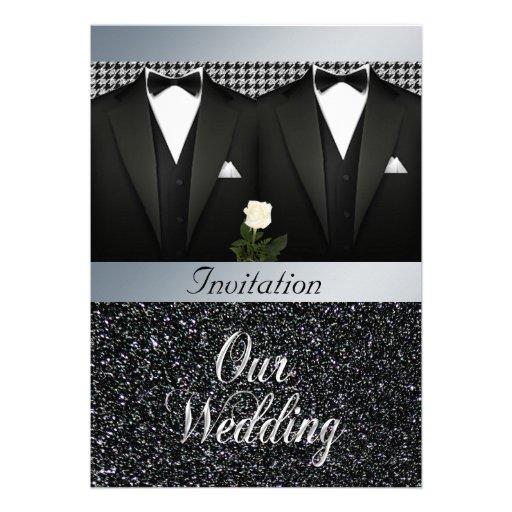 Invitación gay del boda con el smoking y el rosa b