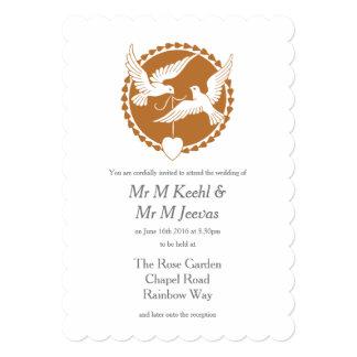 Invitación gay del boda de las palomas elegantes invitación 12,7 x 17,8 cm