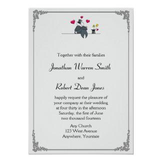 Invitación gay del boda del dibujo animado lindo