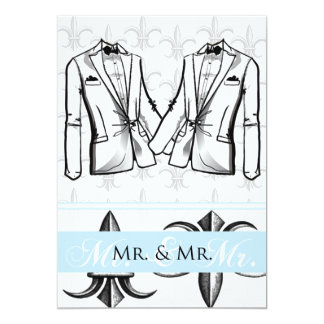 Invitación gay del boda del novio de dos smokinges