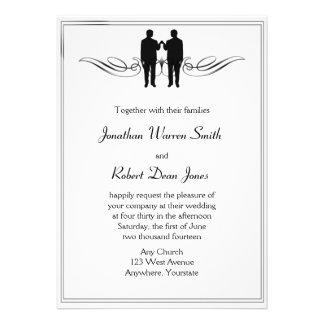 Invitación gay del boda del novio de la elegancia