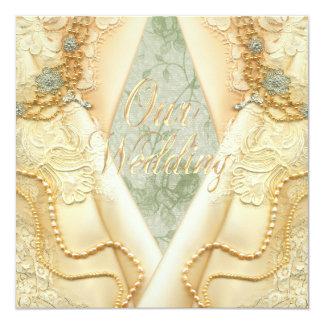 Invitación gay del boda del vintage de las novias