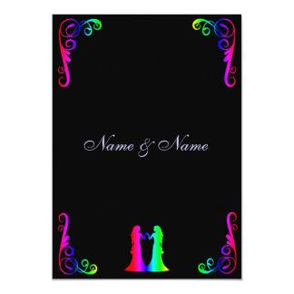 Invitación gay del boda - novia del arco iris y
