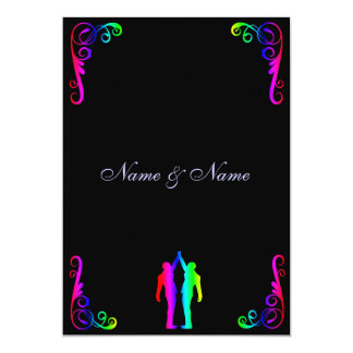 Invitación gay del boda - novio del arco iris y