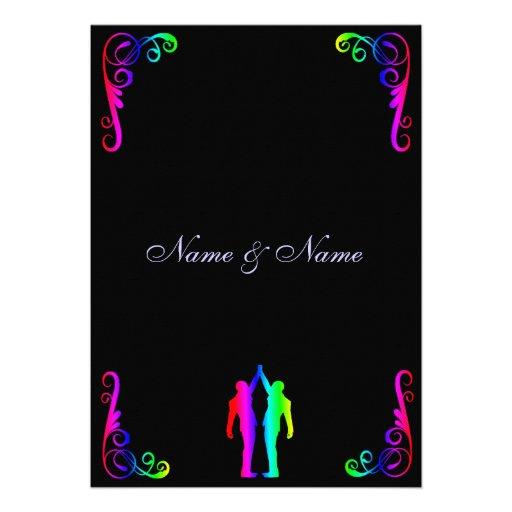 Invitación gay del boda - novio del arco iris y no