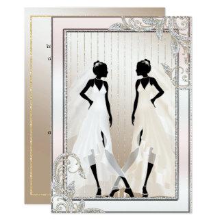 Invitación gay elegante del boda con dos novias