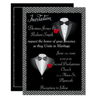 Invitación gay elegante del boda del smoking
