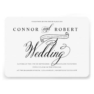 Invitación gay formal del boda en negro y blanco