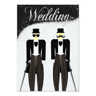 Invitación gay negra y de plata del boda