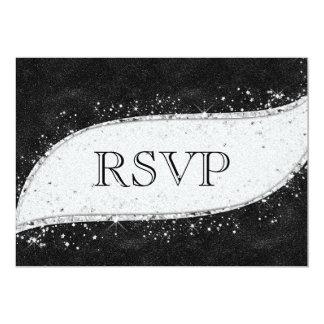 Invitación gay negra y de plata RSVP del boda