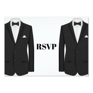 Invitación gay RSVP del boda del smoking