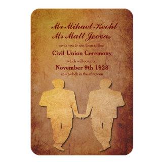 Invitación gay rústica roja del boda