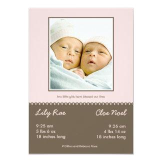 Invitación gemela bendecida doble del nacimiento