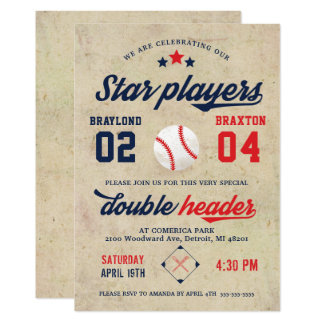 Invitación gemela común del cumpleaños del béisbol