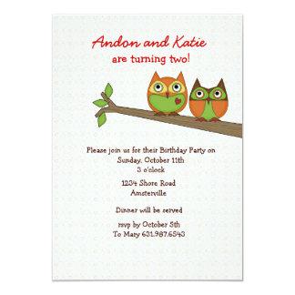 Invitación gemela de los búhos invitación 12,7 x 17,8 cm